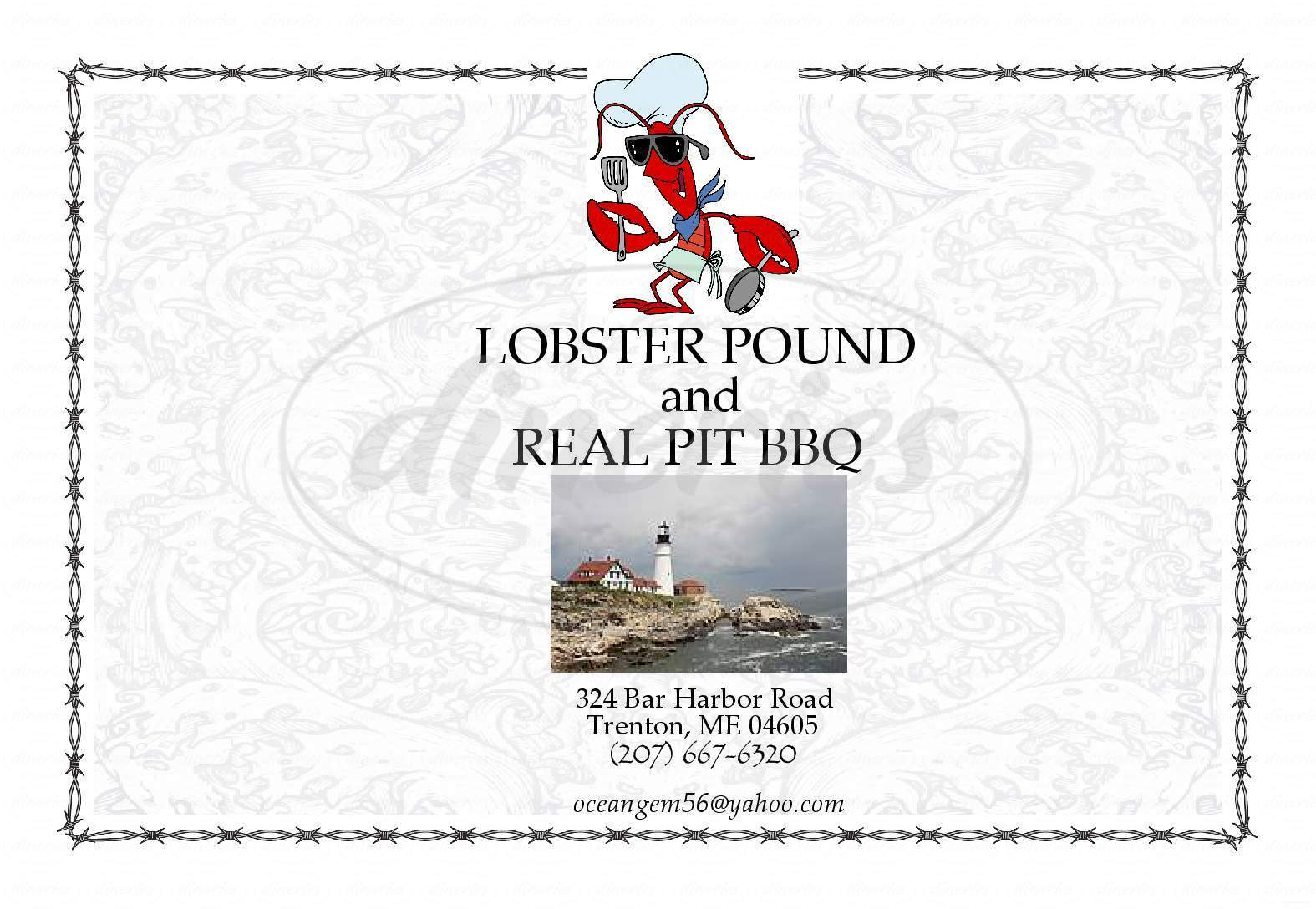 menu for Trenton Lobster Pound & Real Pit BBQ