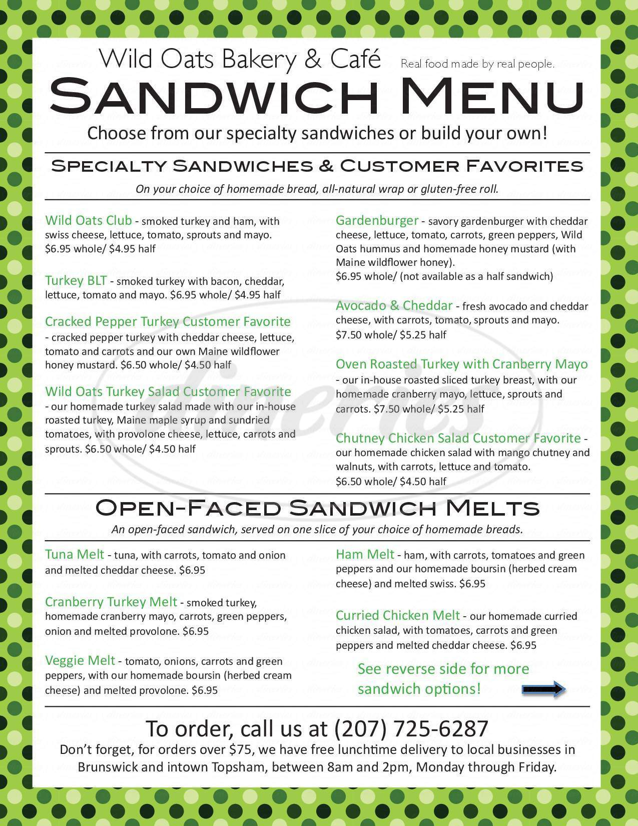 menu for Wild Oats Bakery & Cafe
