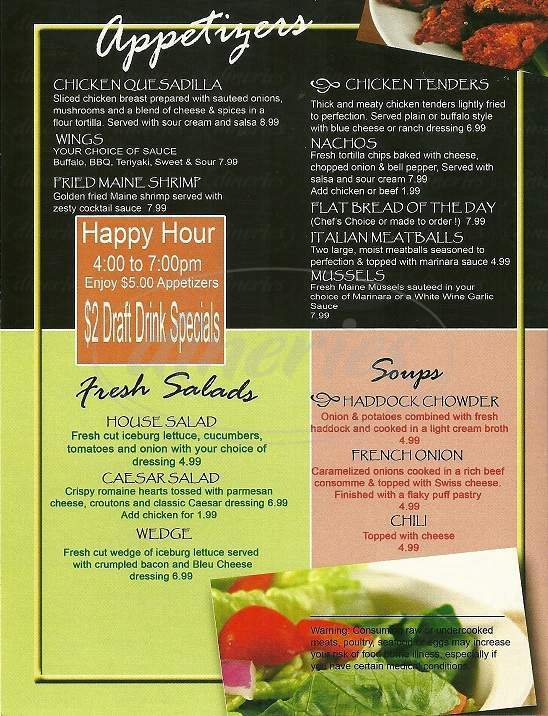 menu for York Grille and Pub