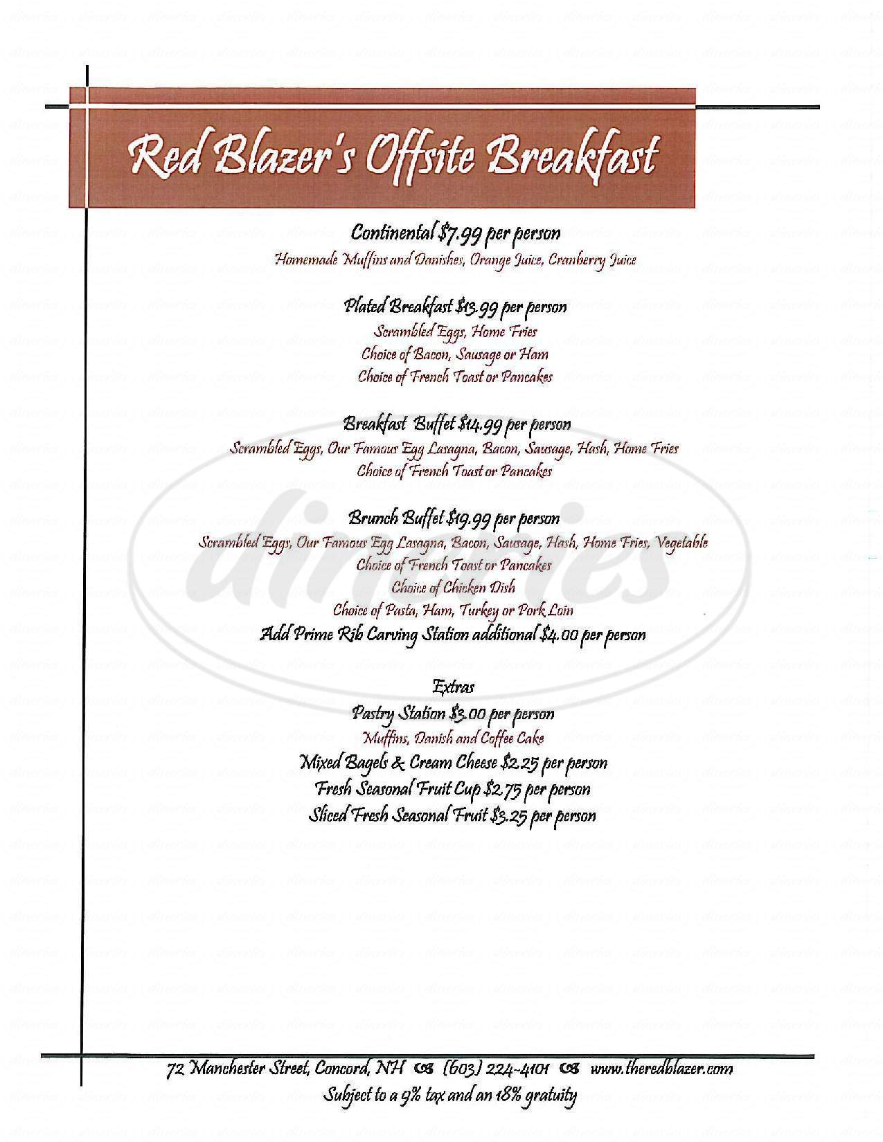 menu for The Red Blazer Restaurant & Pub