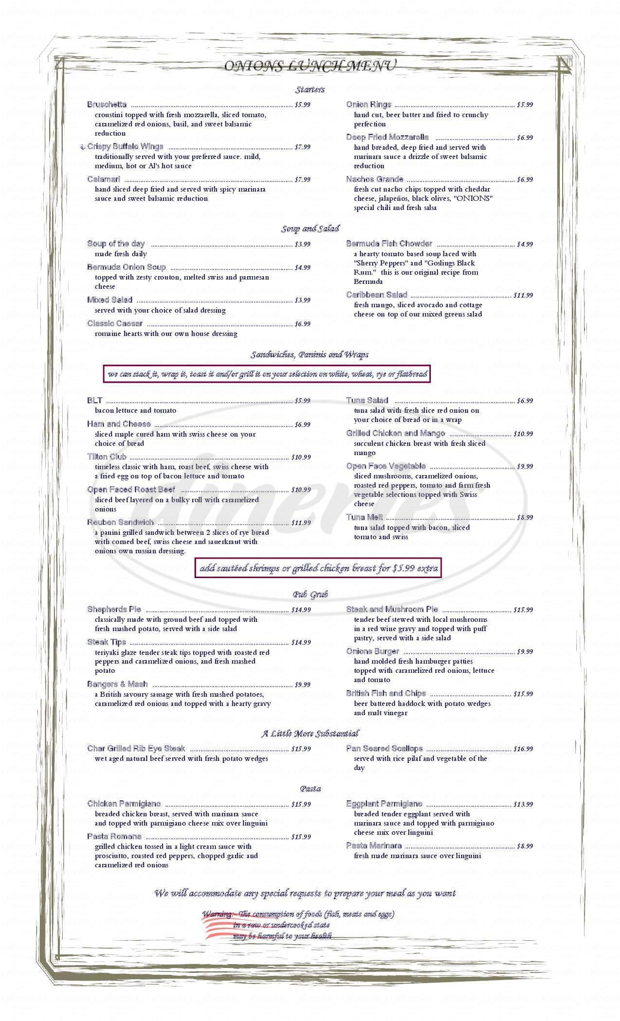 menu for Tilton Inn