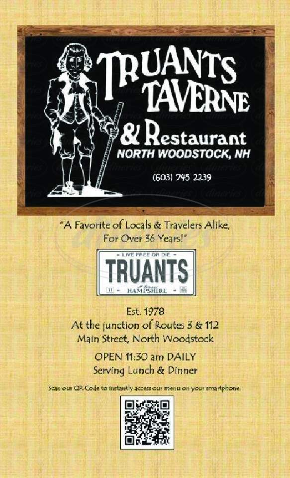 menu for Truants Taverne