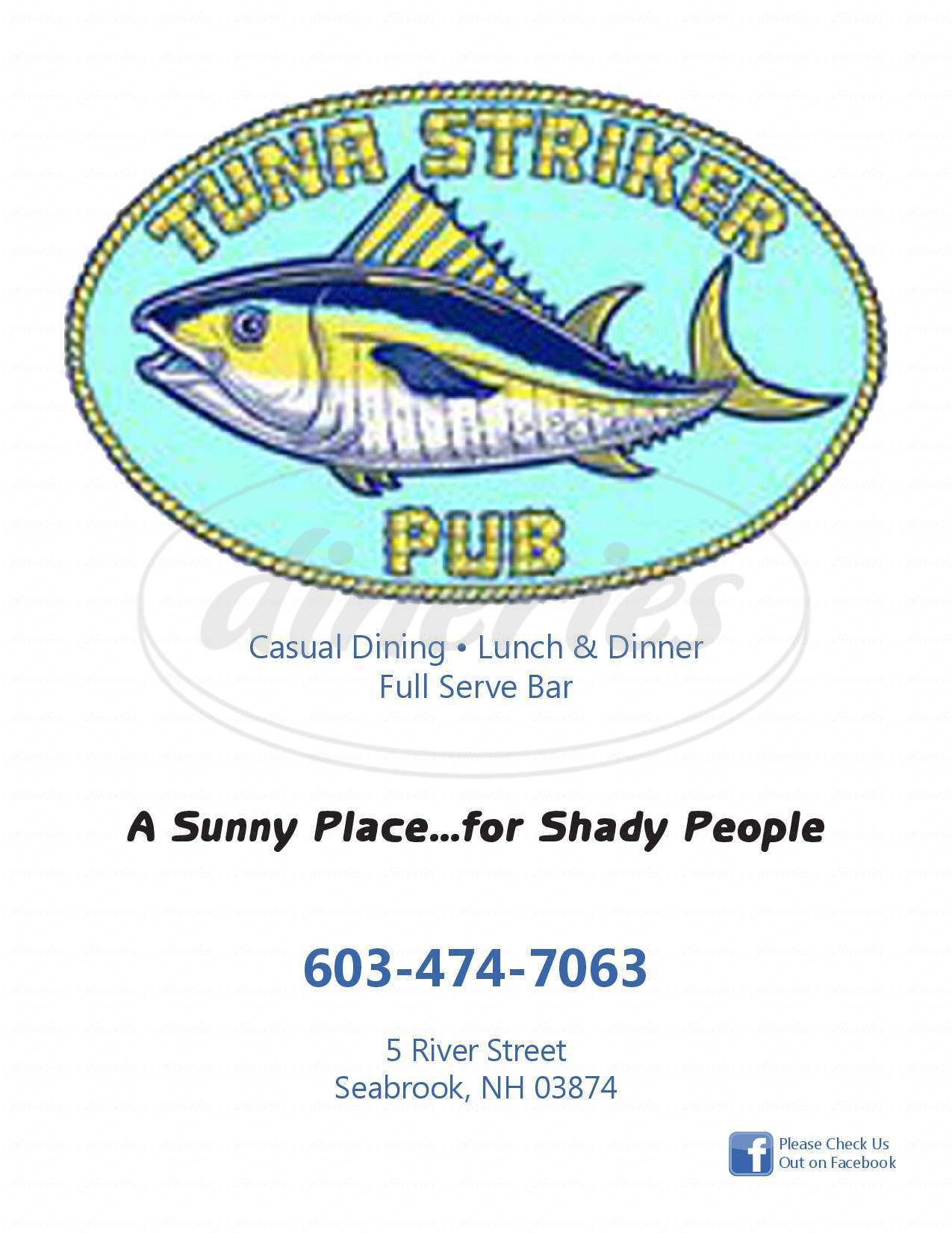 menu for Tuna Striker Pub