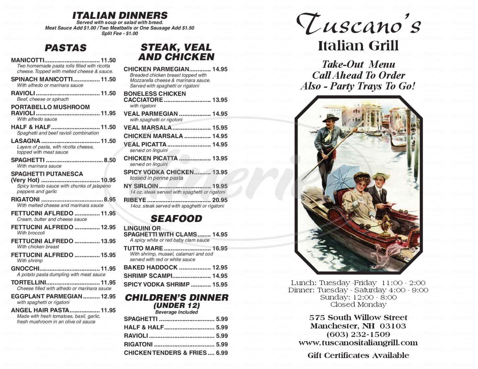 menu for Tuscano's Italian Grill