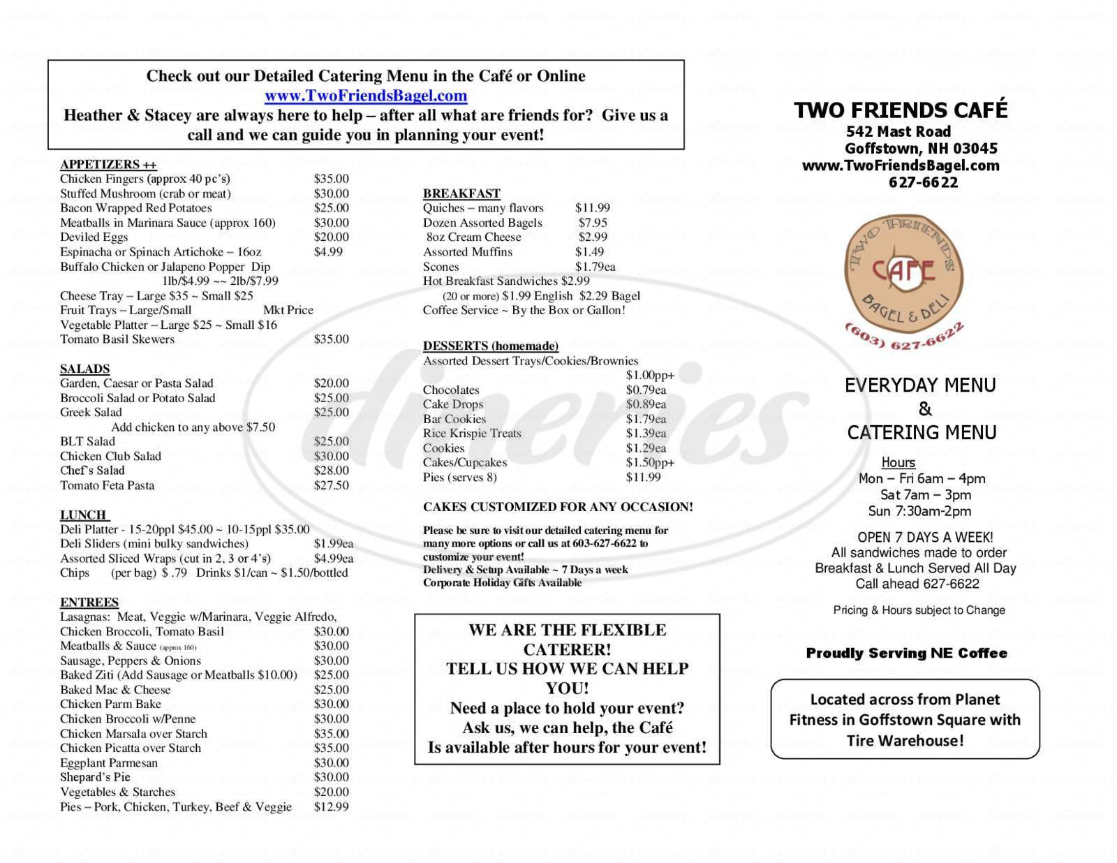 menu for Two Friends Bagel & Deli