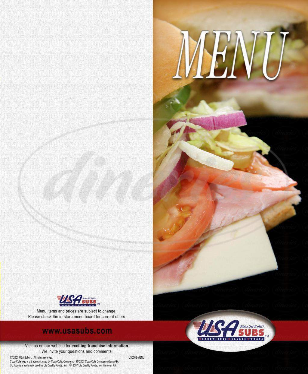 menu for USA Subs