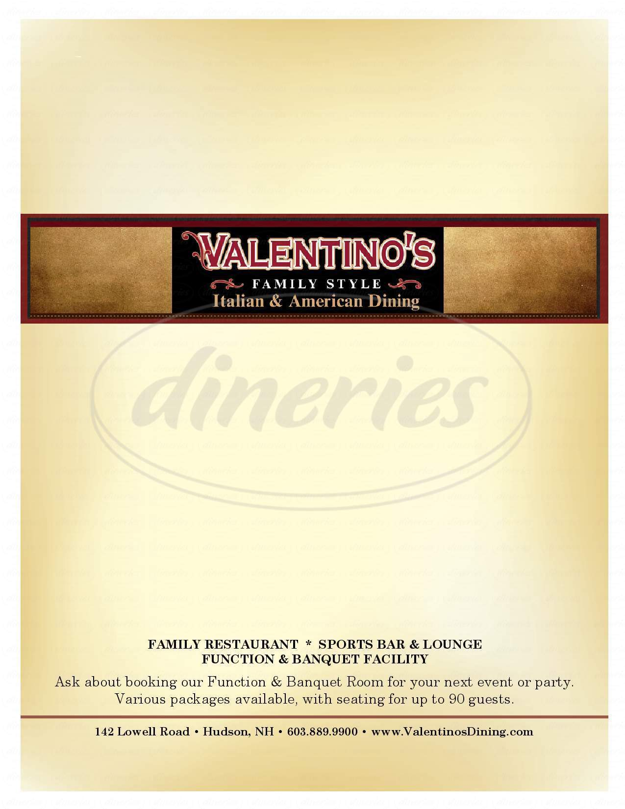 menu for Valentino's Restaurant