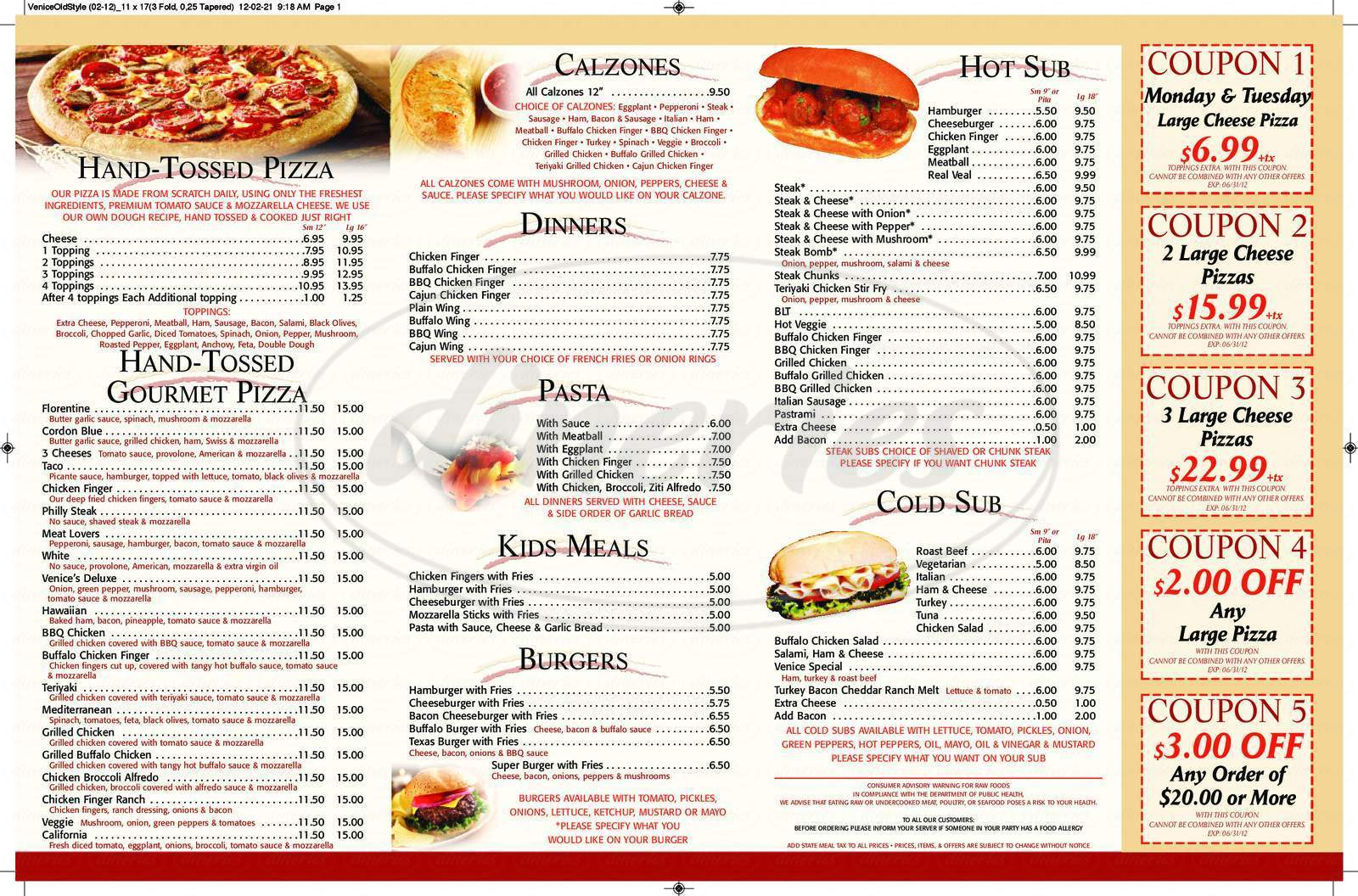 menu for Venice Old Style Pizza