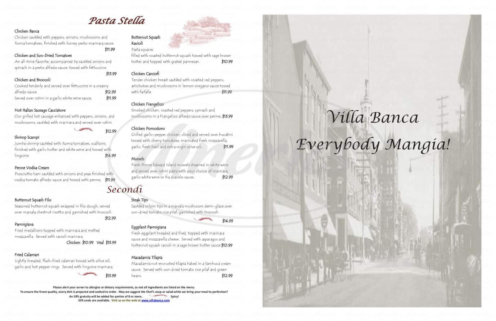 menu for Villa Banca