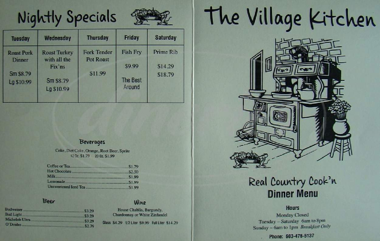 menu for Village Kitchen