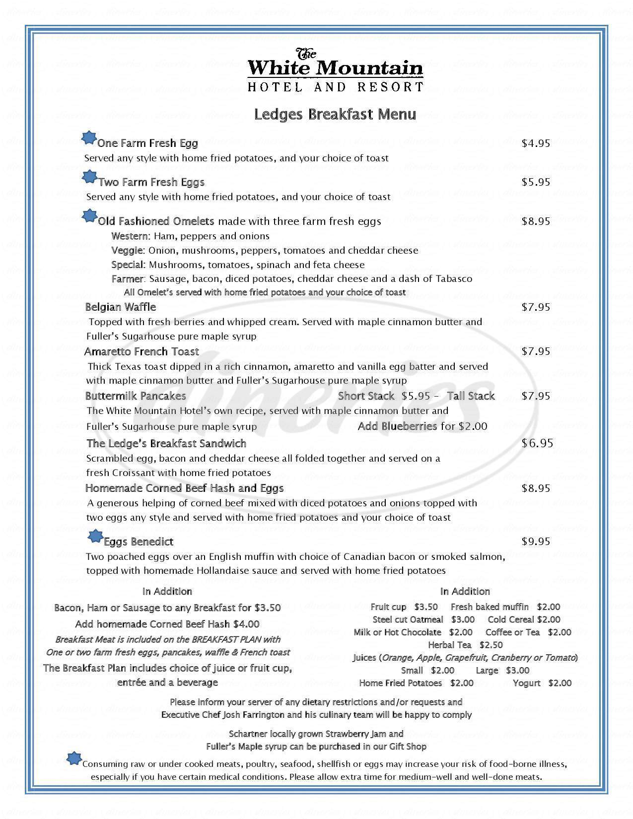 Big menu for Ledges Dining Room, North Conway