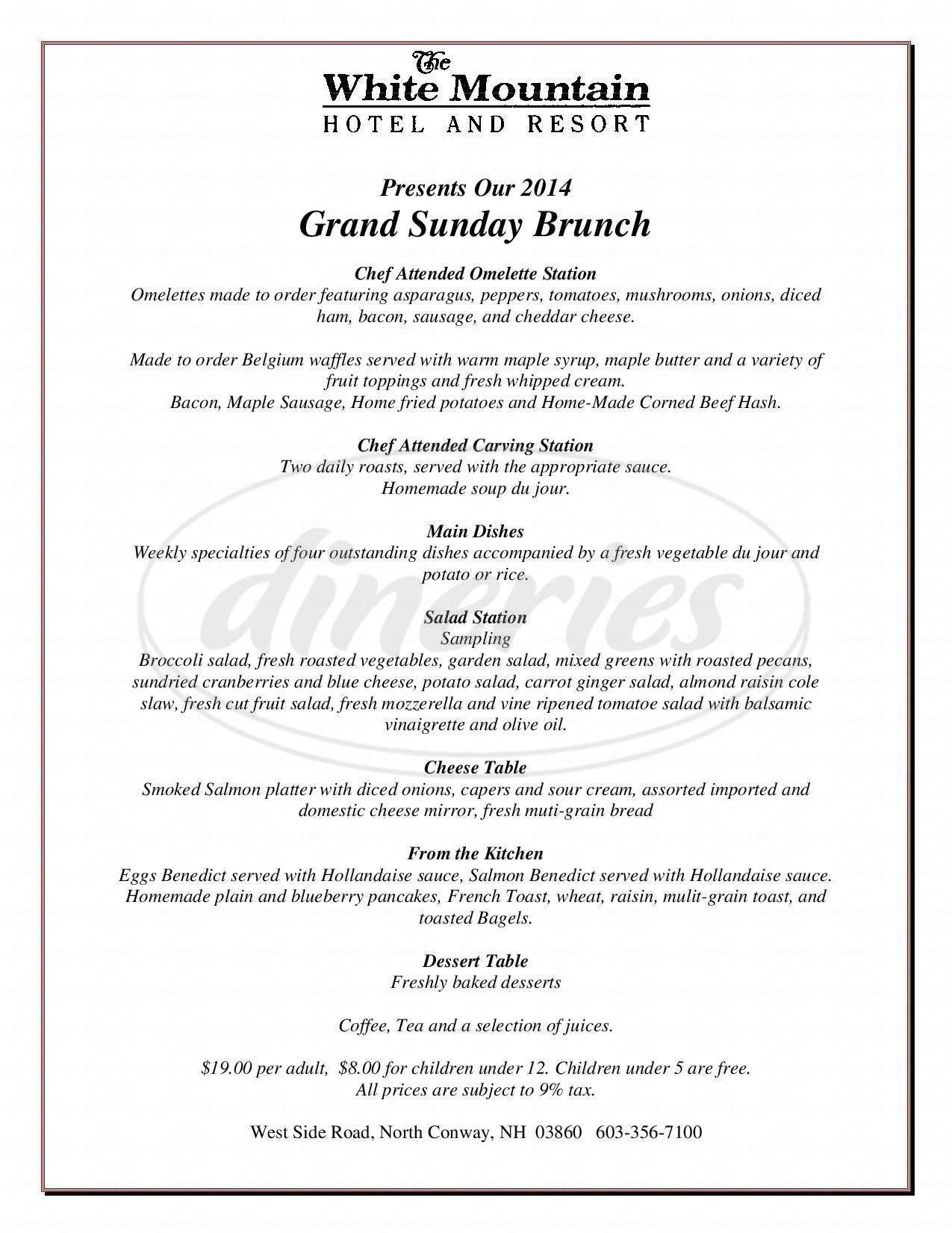 menu for Ledges Dining Room