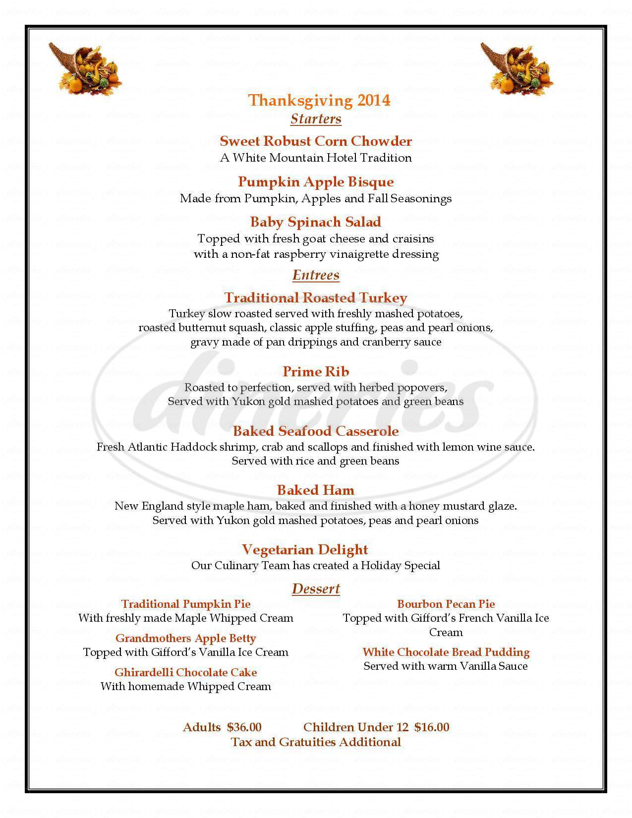 menu for Ledges Dining Room