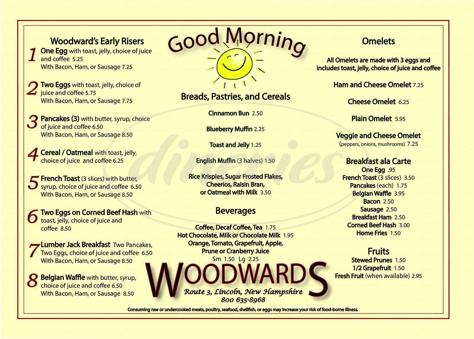 menu for Woodwards Open Hearth Steakhouse