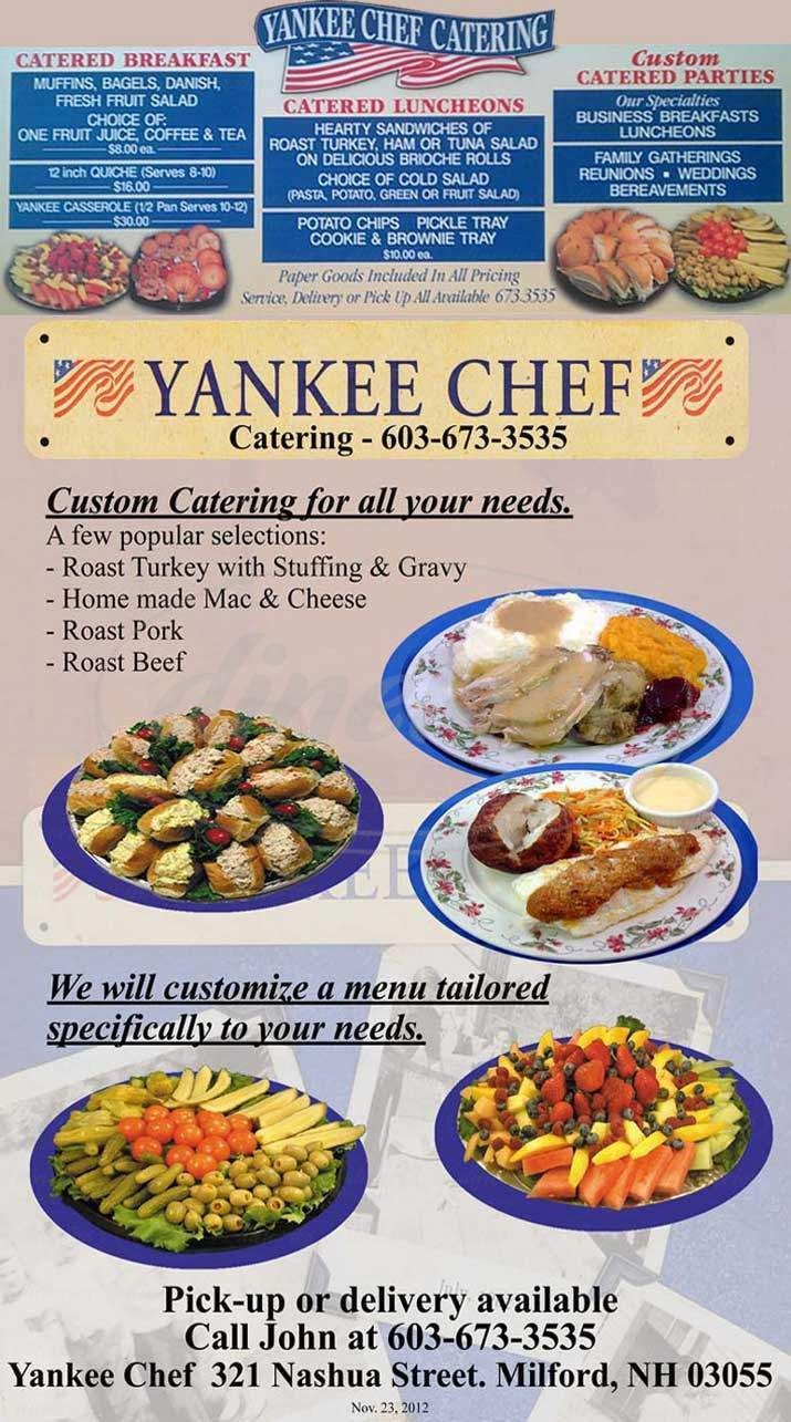 menu for Yankee Chef