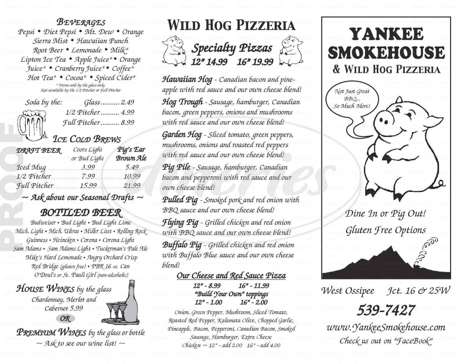 menu for Yankee Smokehouse