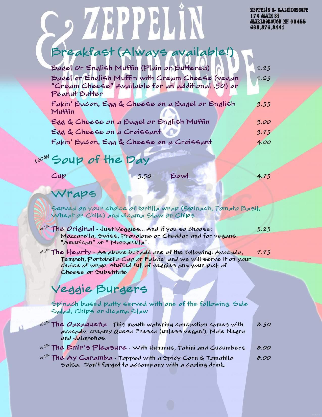 menu for Zeppelin & Kaleidoscope