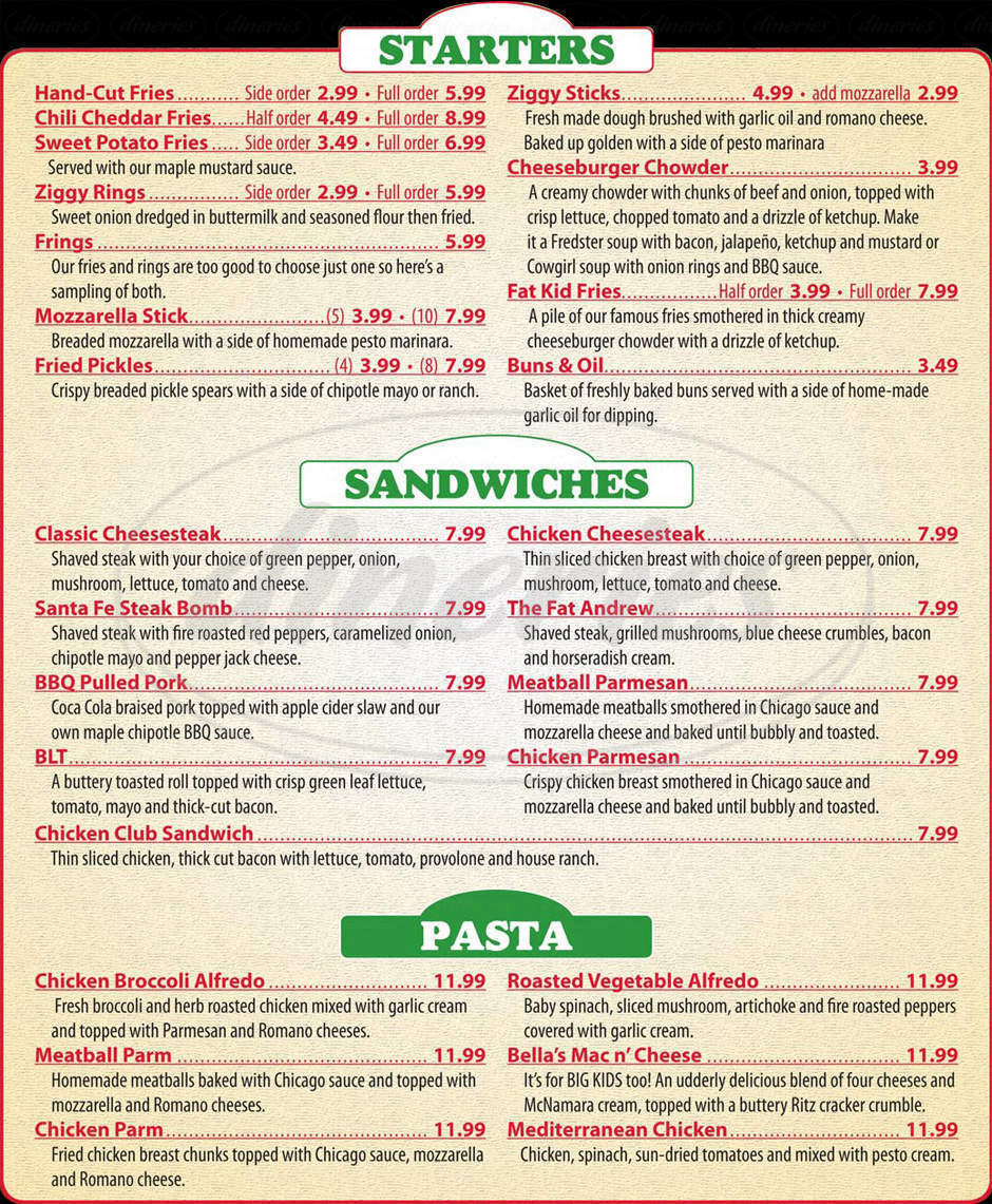 menu for Ziggy's Pizza