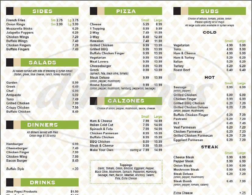 menu for Chris' Pizza Box