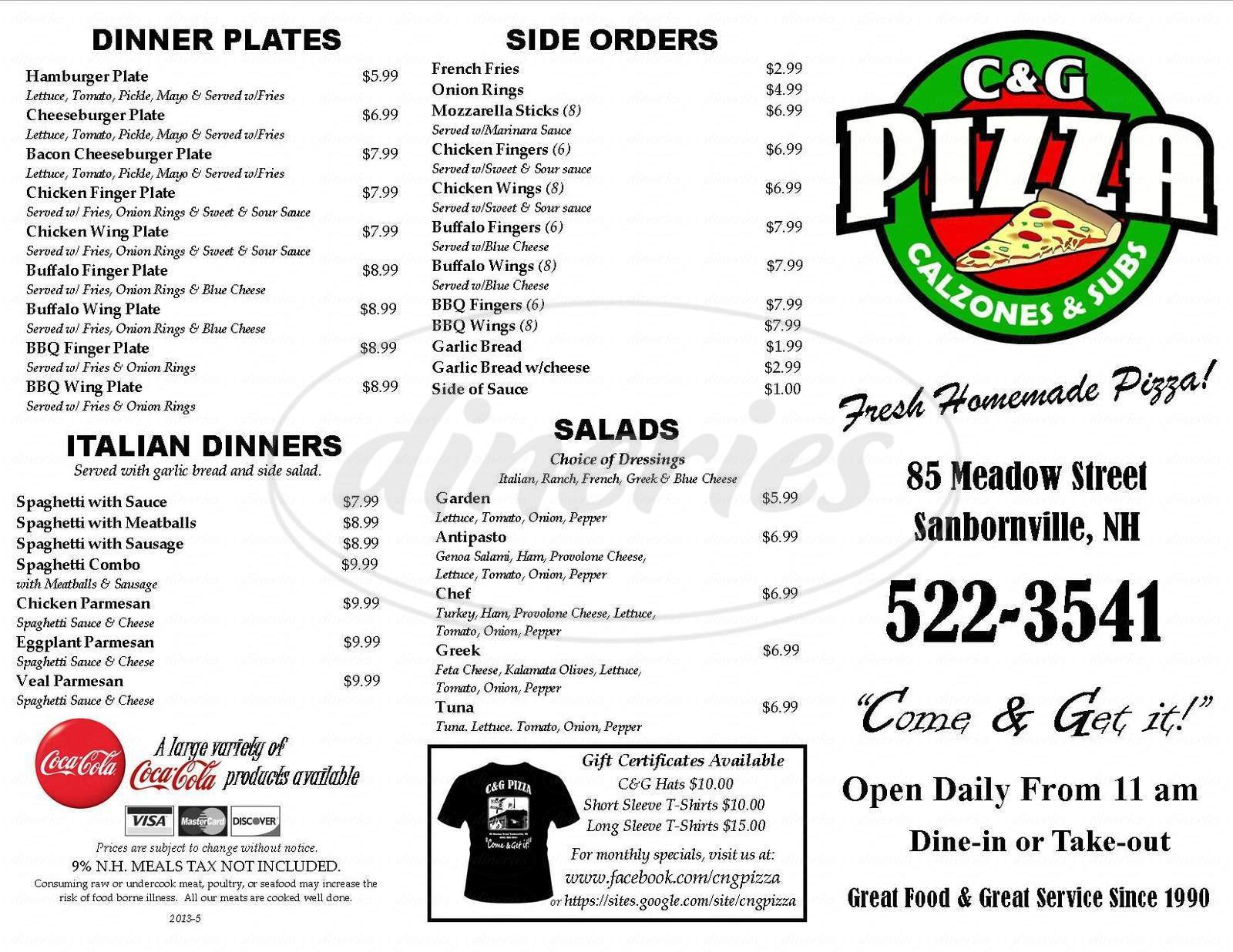 menu for C & G Pizza & Restaurant