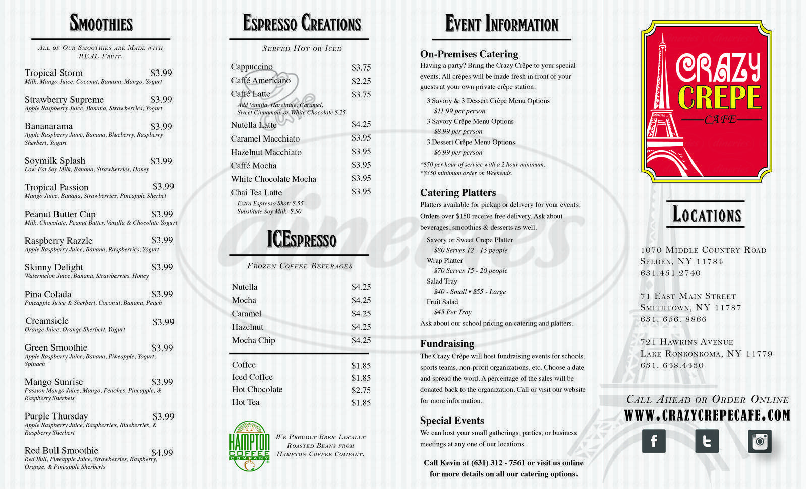 menu for Crazy Crepe Cafe