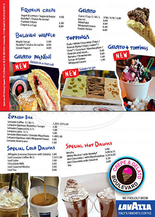 menu for Crepe & Gelato Boulevard