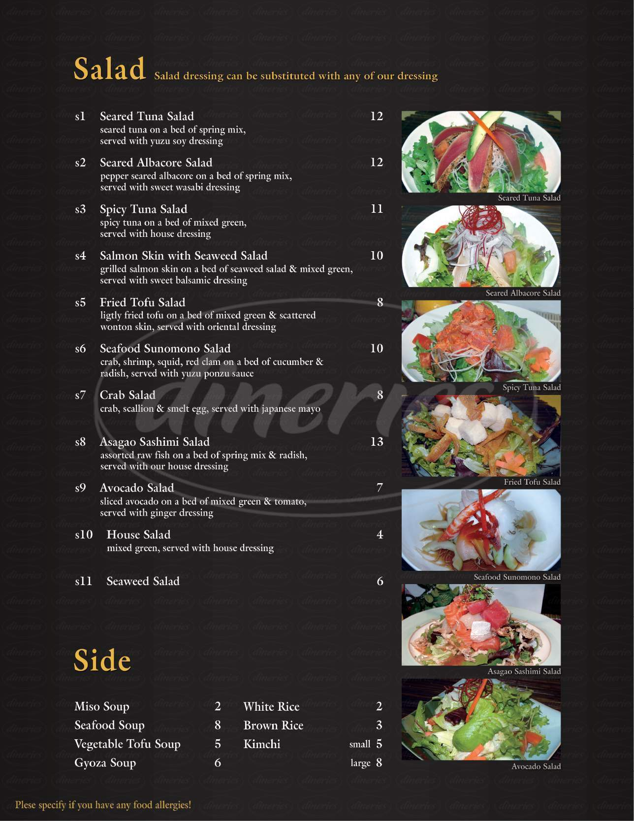 menu for Asagao Sushi