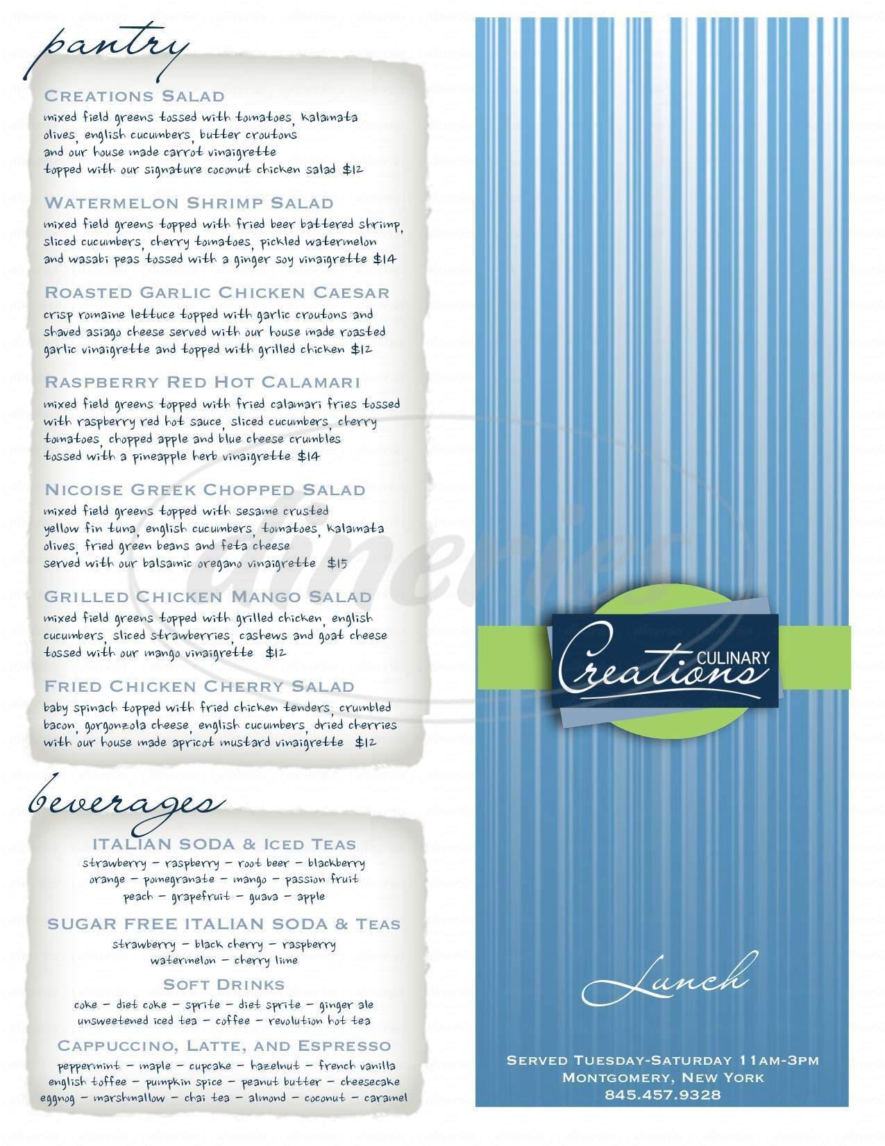 menu for Culinary Creations