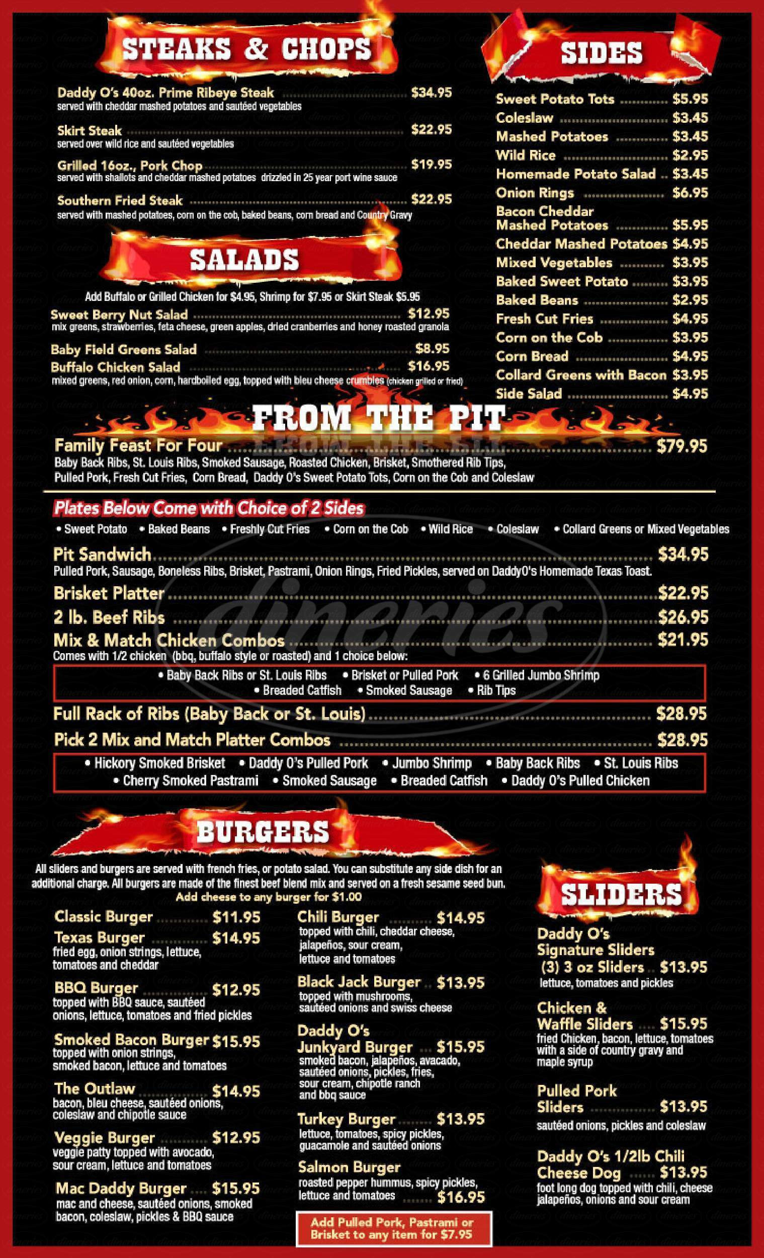 menu for DaddyO's BBQ and Sports Bar