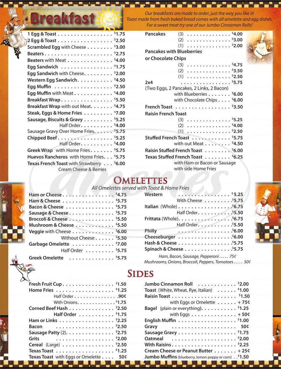 menu for Dahl's Diner