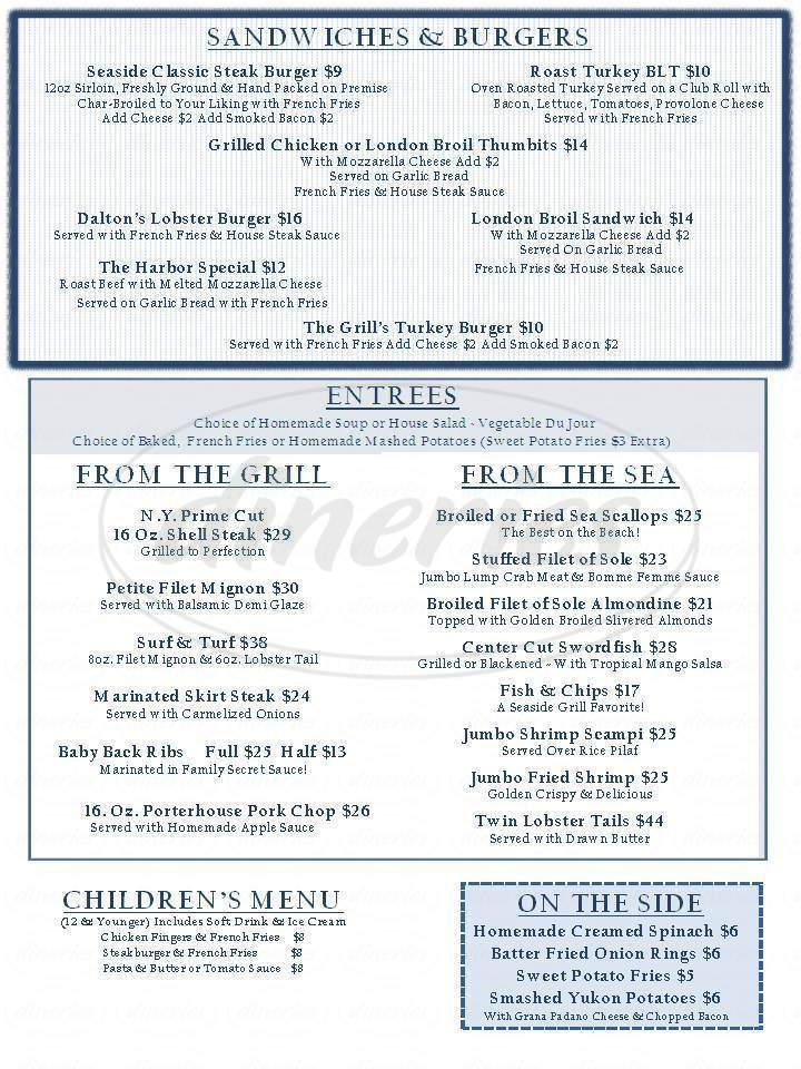 menu for Dalton's Seaside Grill