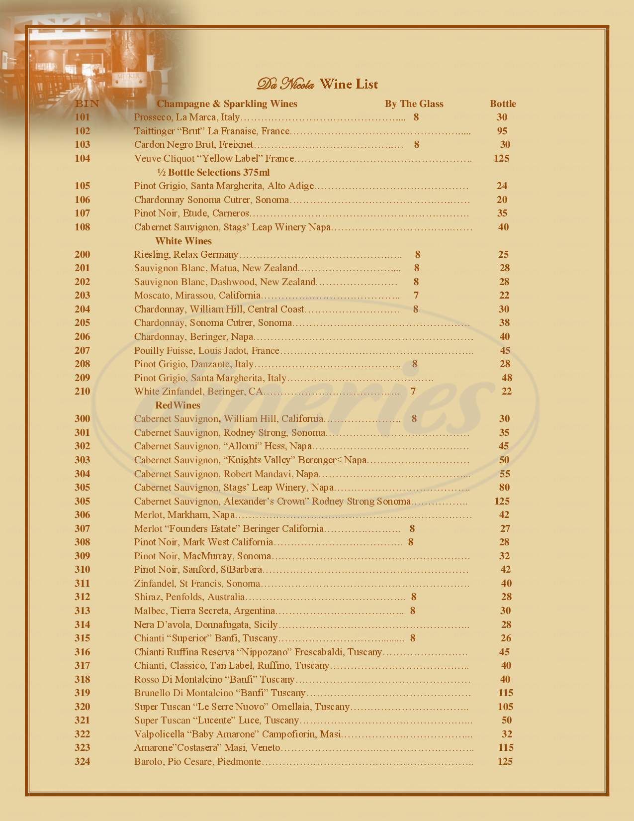 menu for Da Nicola Italian Cuisine