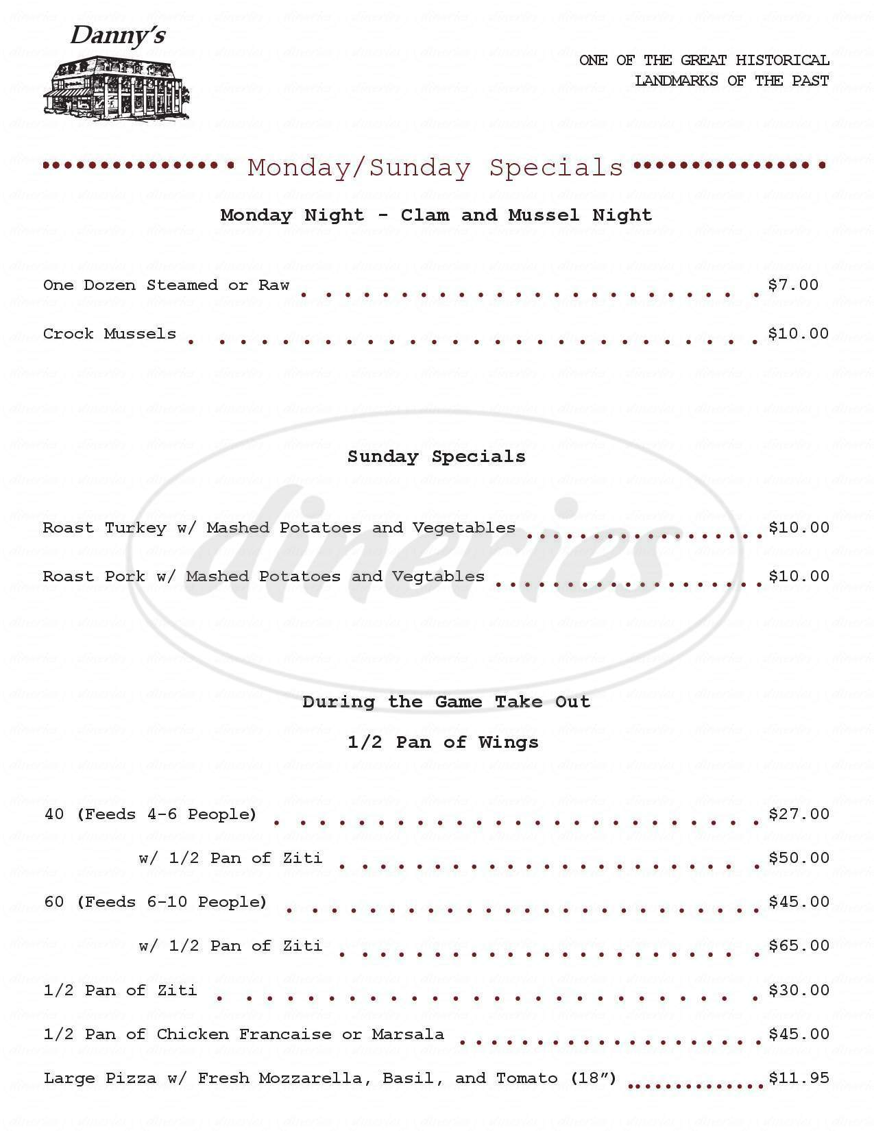 menu for Danny's Village Inn