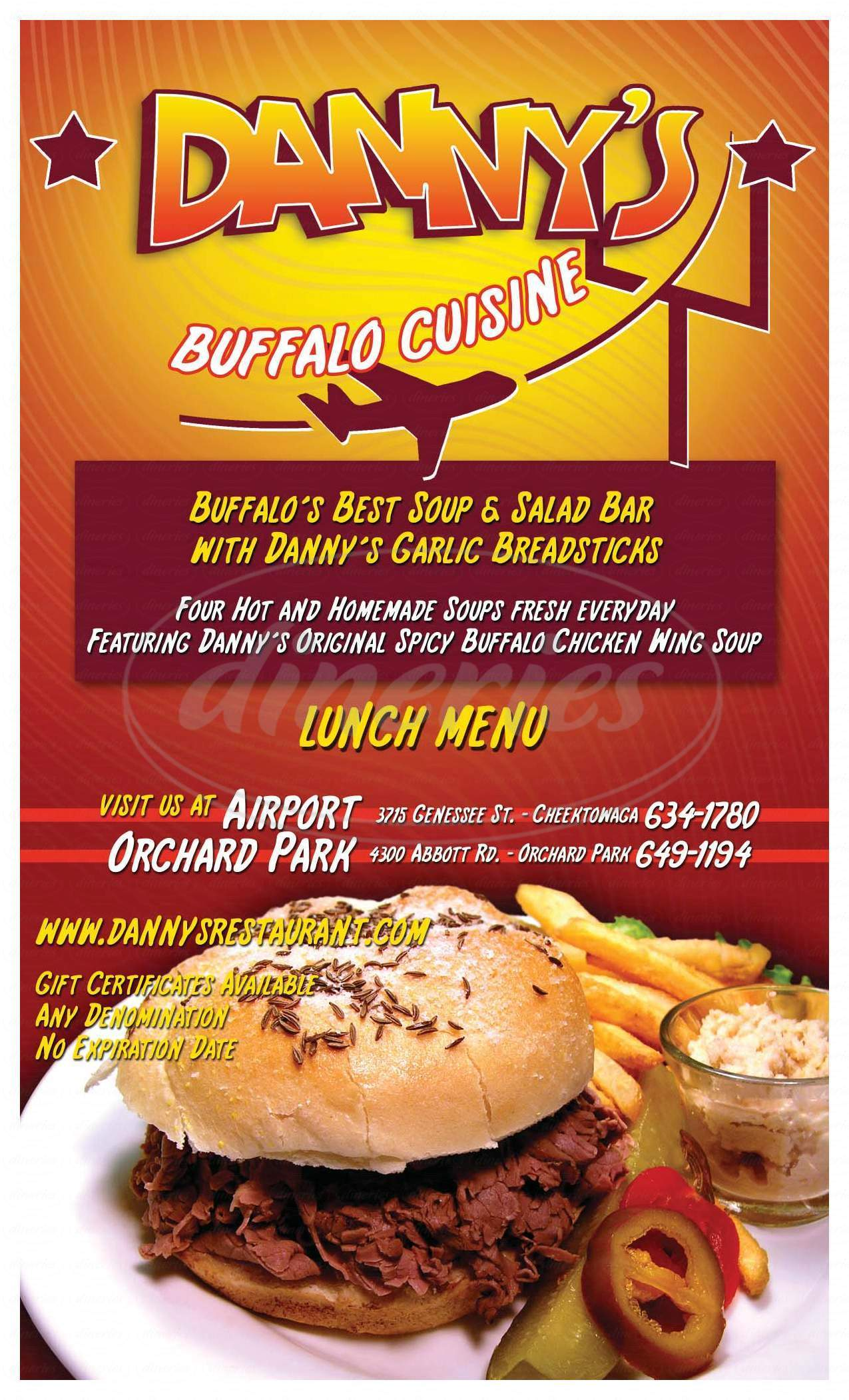 menu for Danny's Restaurant