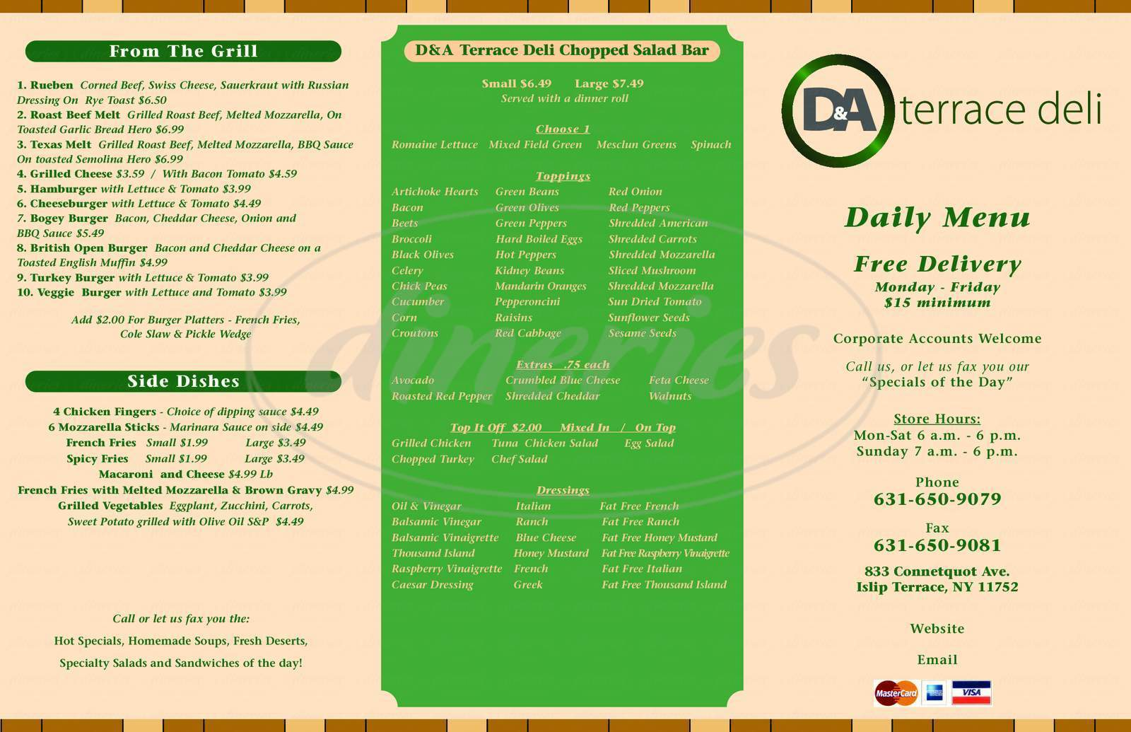 menu for D&A Terrace Deli