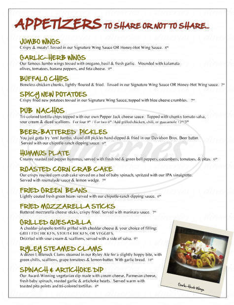 menu for Davidson Brothers Restaurant & Brewery