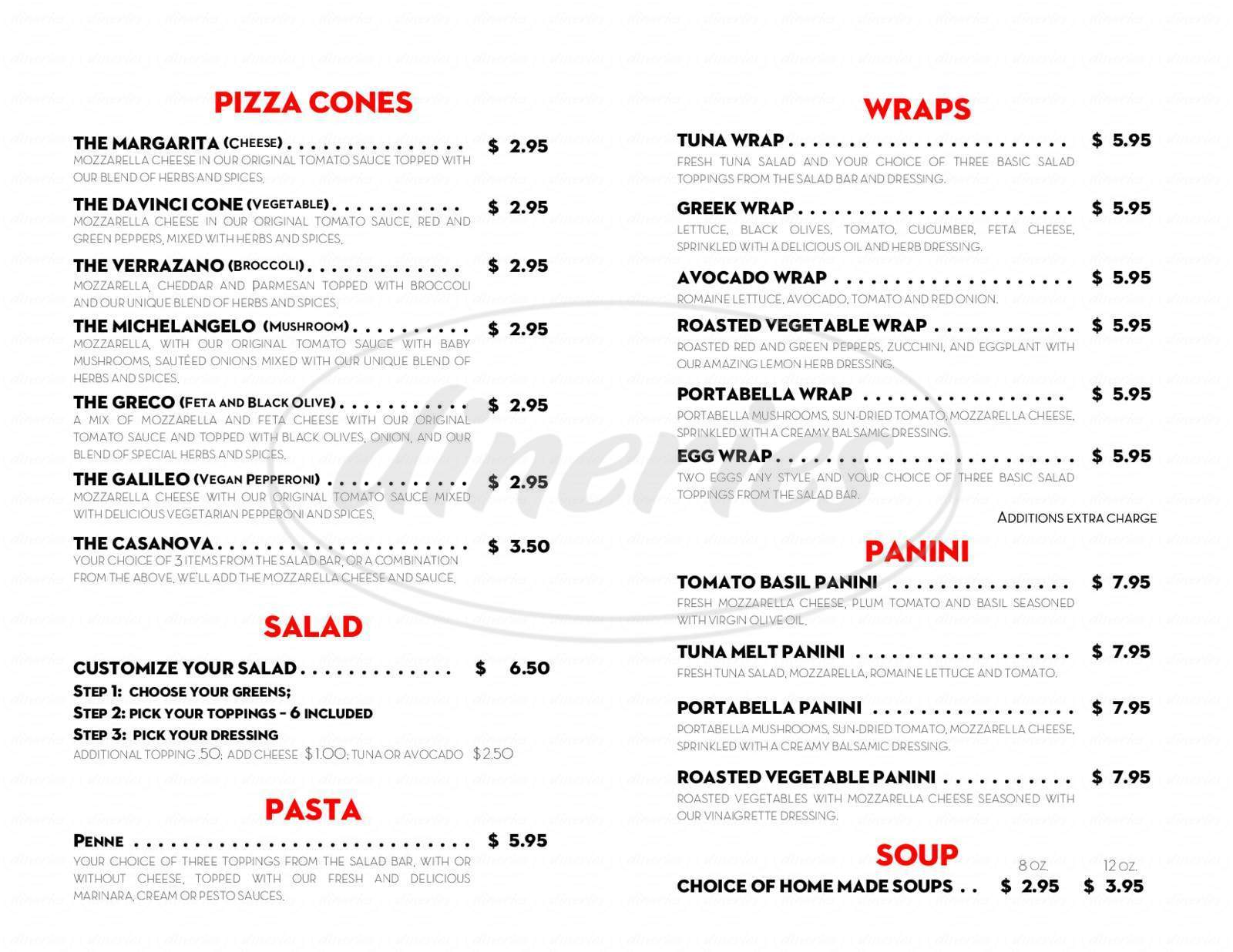 menu for DaVinci Cones