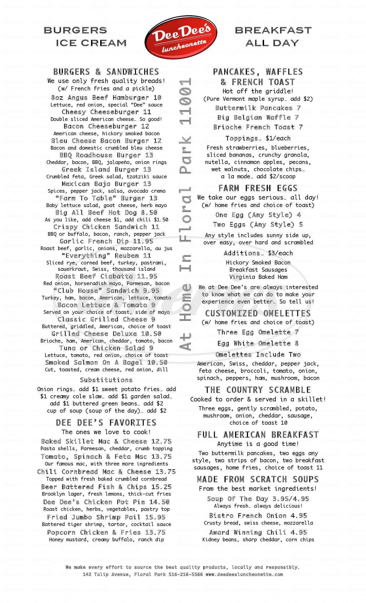menu for Dee Dee's Luncheonette