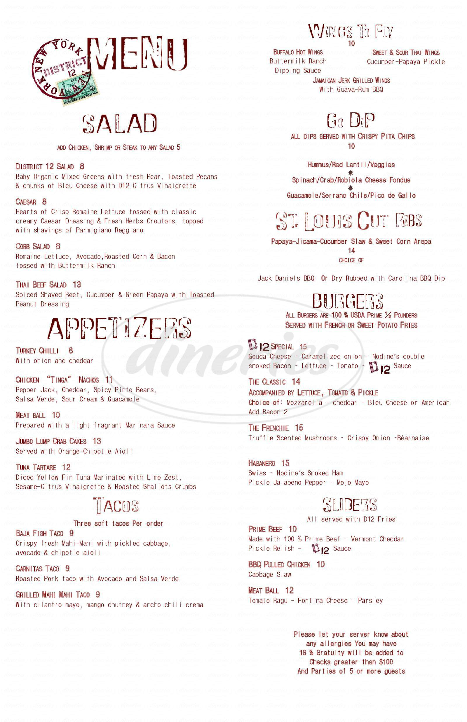 menu for Diva's Caribbean Restaurant