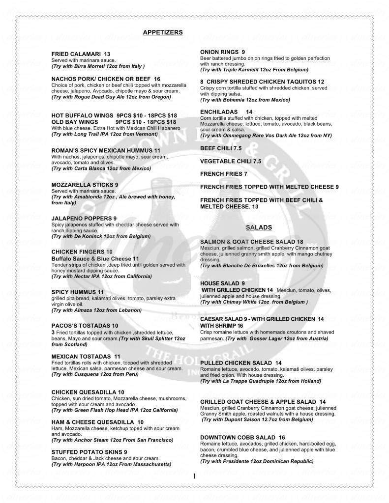 menu for Downtown Bar and Grill
