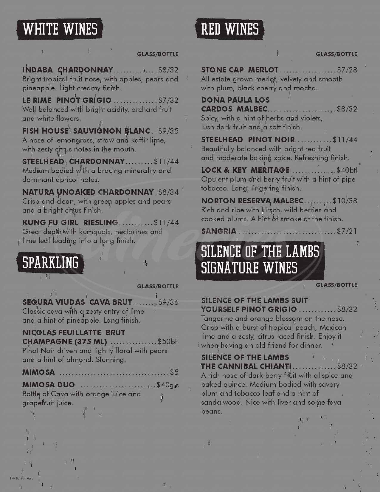 menu for Alamo Drafthouse