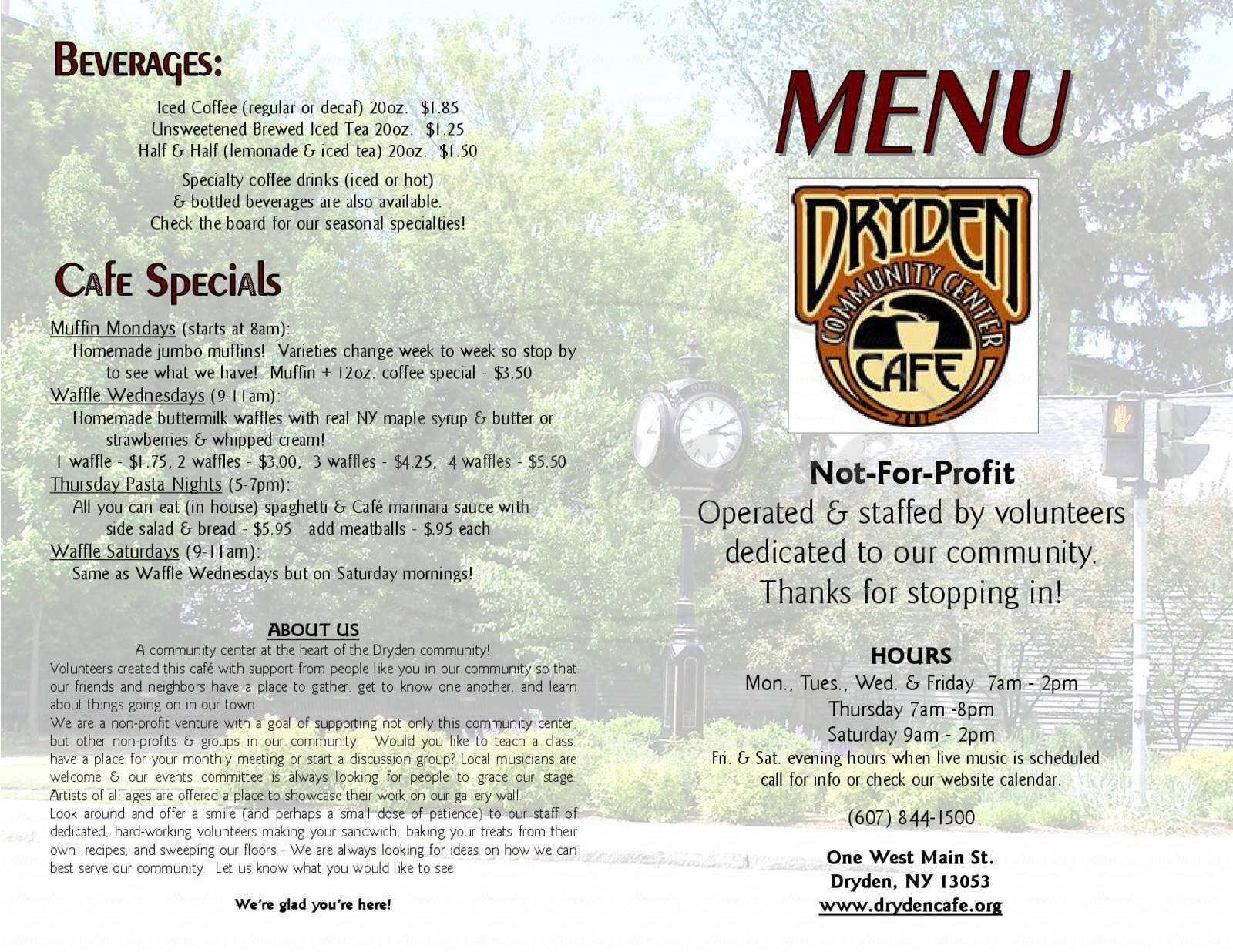 menu for Dryden Community Center Cafe
