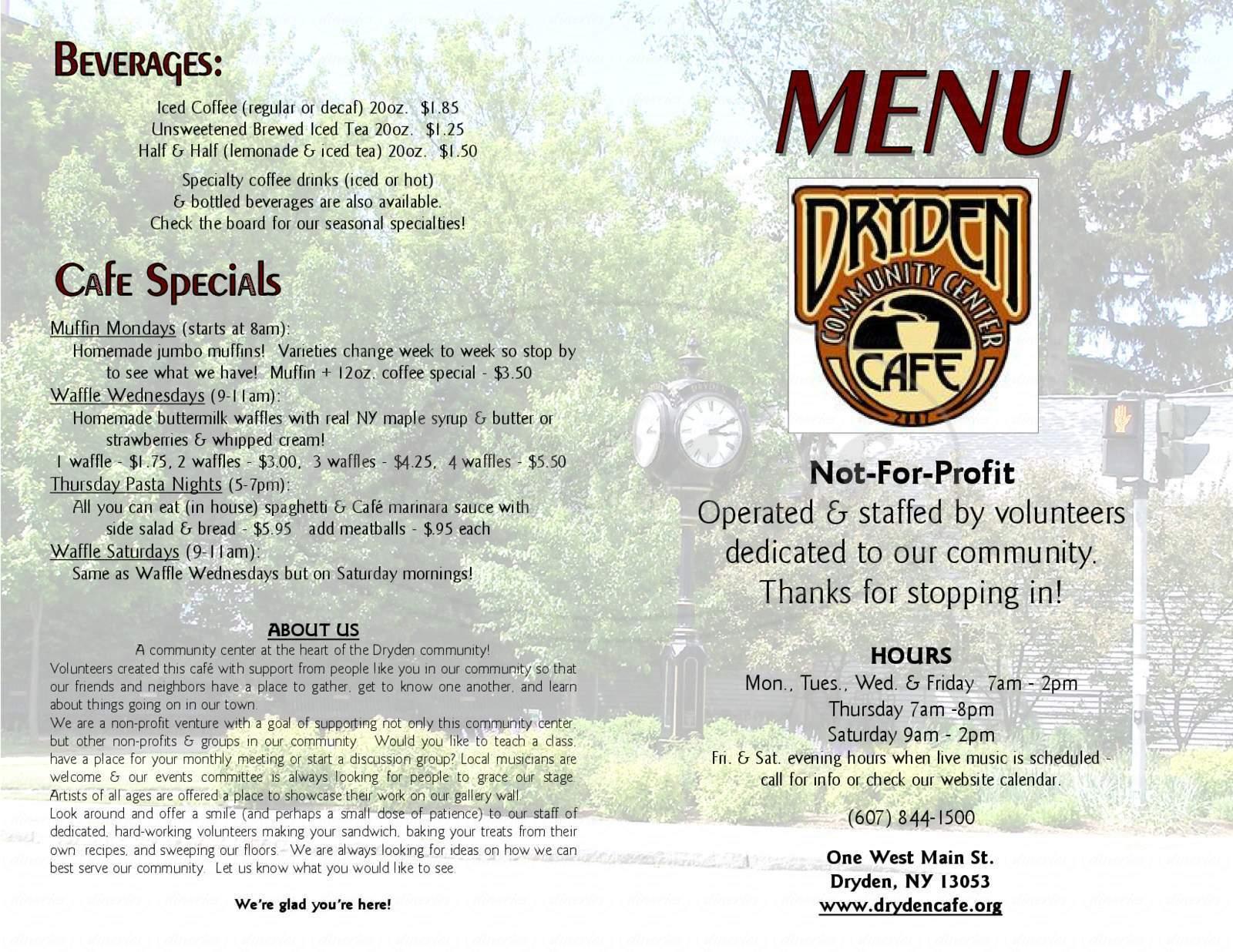 menu for Dryden Community Center Cafe