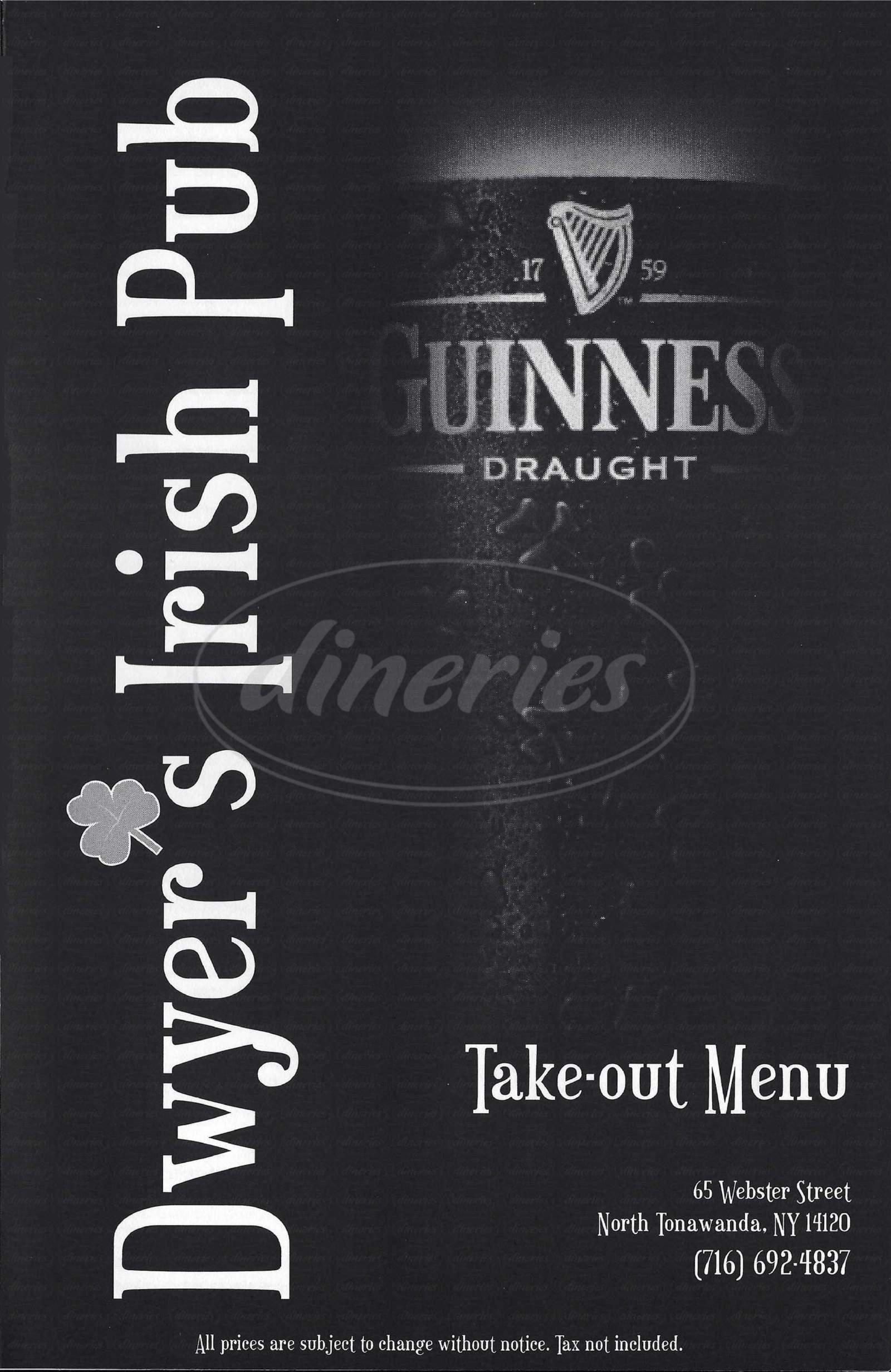 menu for JP Dwyers Pub