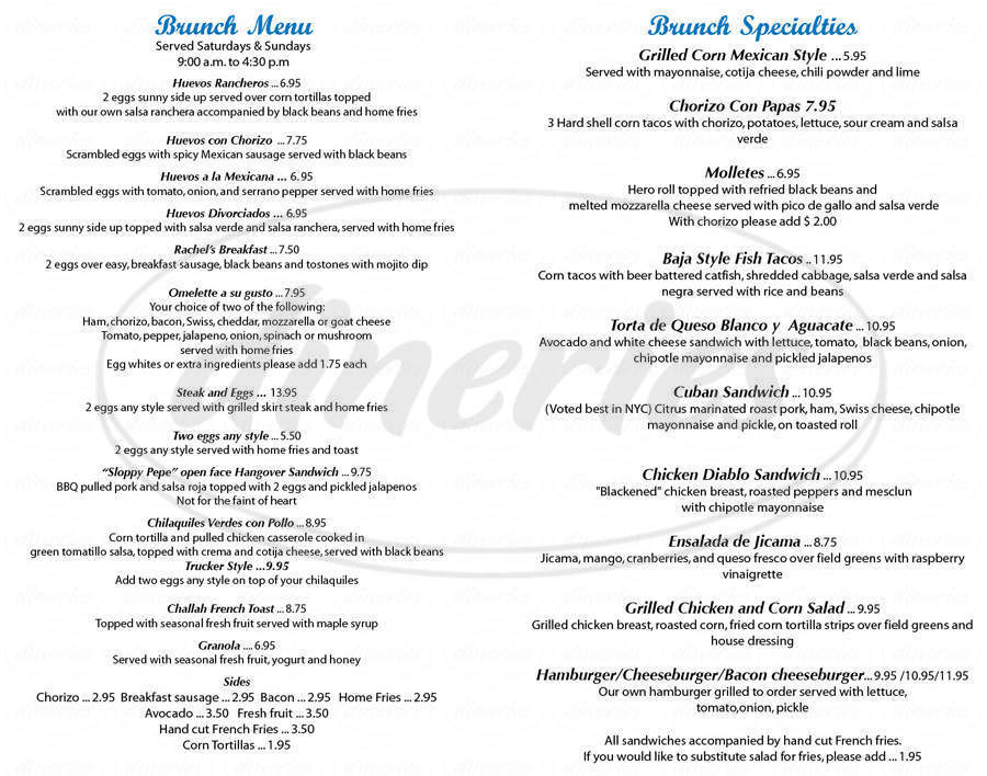 menu for Cafe Habana