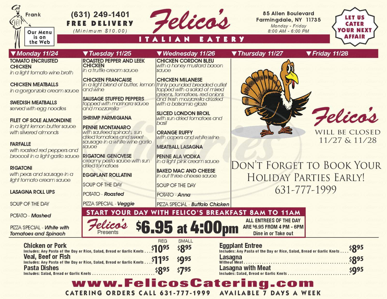 menu for Felico's Catering