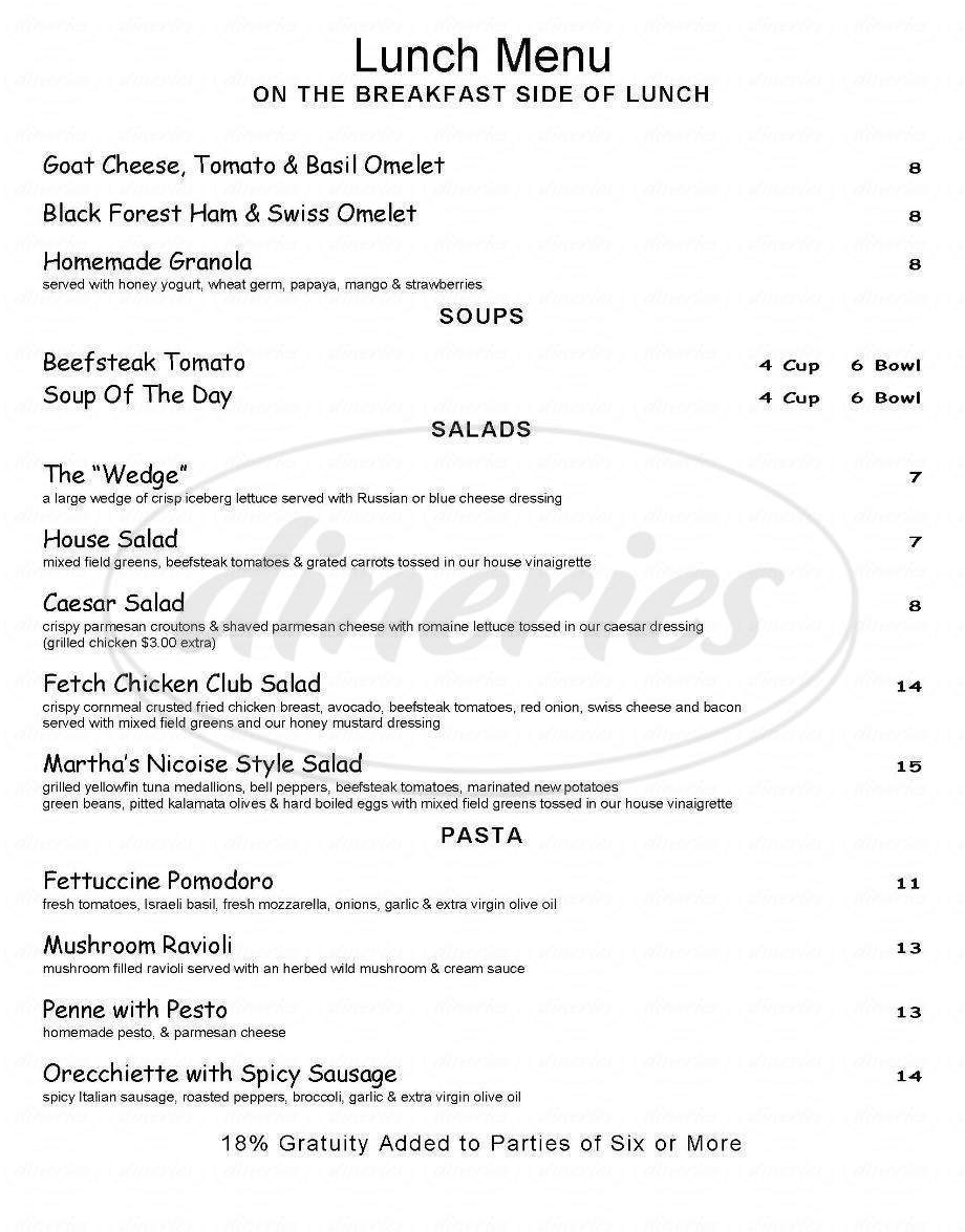 menu for Fetch Bar and Grill