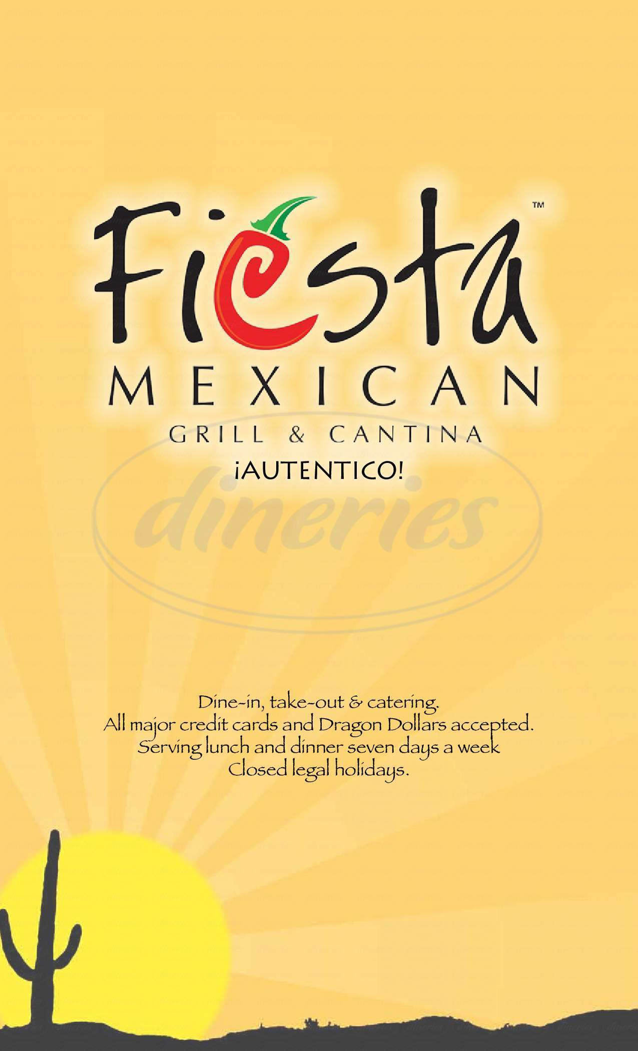 menu for Fiesta Mexican Restaurant