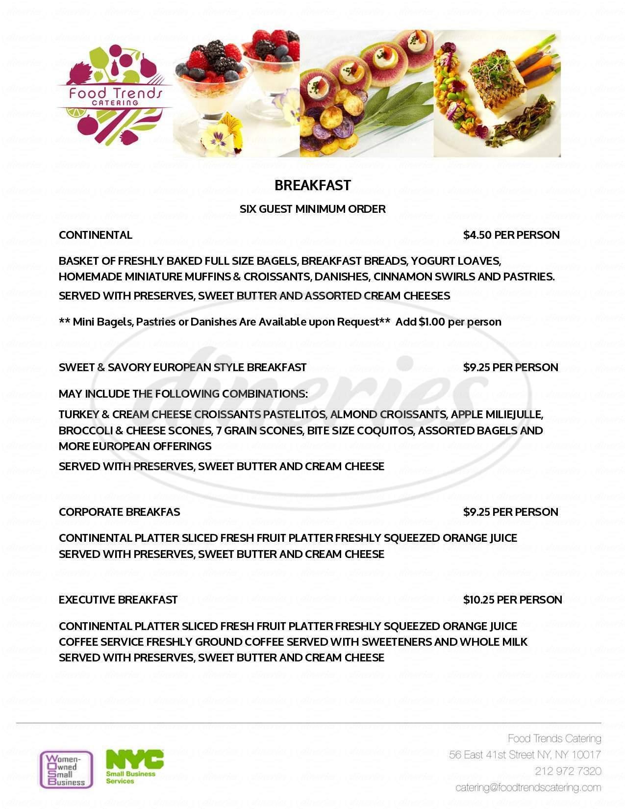 menu for Food Trends