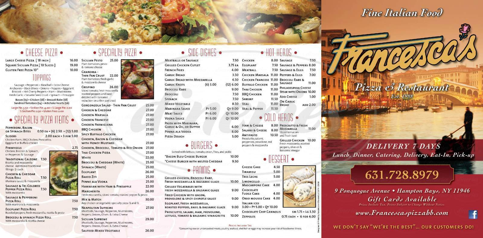 menu for Francesca's Restaurant & Pizzeria